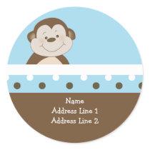 Blue Bambino Monkey Round Address Labels