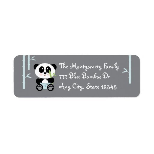 Blue Bamboo Baby Panda In Diapers Address Stickers Label Zazzle