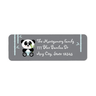 Blue Bamboo Baby Panda in Diapers Address Stickers Return Address Label