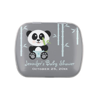 Blue Bamboo Panda Baby Shower Favor Jelly Belly Tin