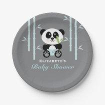 Blue Bamboo Panda Baby Shower Paper Plate