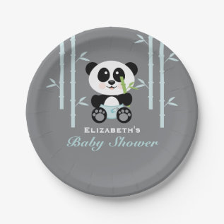 Blue Bamboo Panda Baby Shower Paper Plate at Zazzle