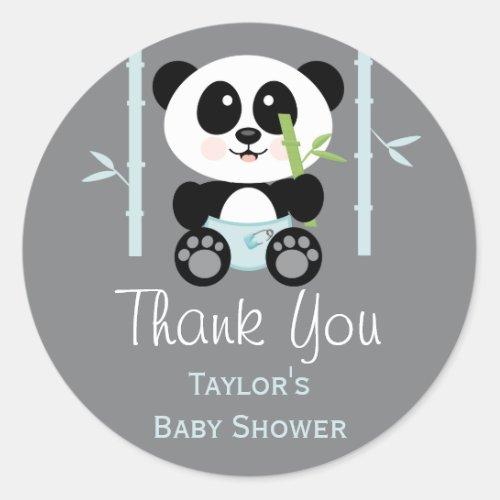 Blue Bamboo Panda Baby Shower Round Thank You Classic Round Sticker