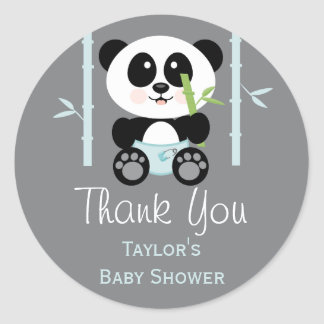 Blue Bamboo Panda Baby Shower Round Thank You Classic Round Sticker