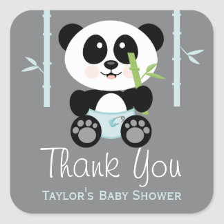 Blue Bamboo Panda Baby Shower Thank You Stickers