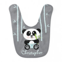 BLUE BAMBOO PANDA IN DIAPERS BABY BIB