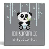 Blue Bamboo Panda in Diapers Baby Photo Album Binder