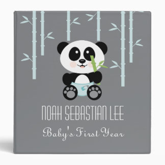 Blue Bamboo Panda in Diapers Baby Photo Album Binder