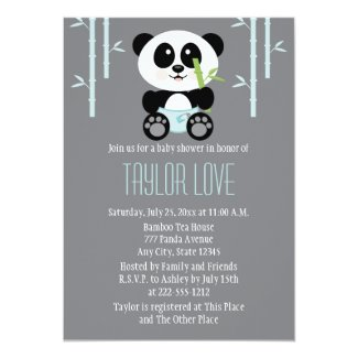 Blue Bamboo Panda in Diapers Baby Shower Card