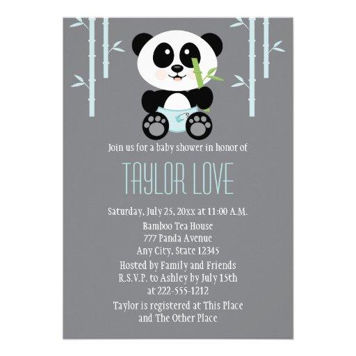 Blue Bamboo Panda In Diapers Baby Shower Custom Invitation