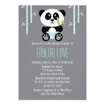 Blue Bamboo Panda in Diapers Baby Shower Invitation