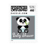 Blue Bamboo Panda in Diapers Baby Shower Postage Stamp