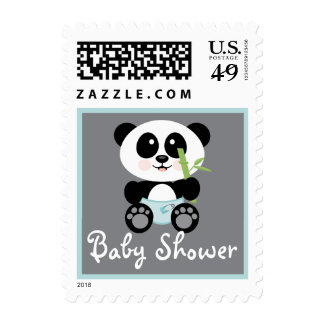 Blue Bamboo Panda in Diapers Baby Shower Stamps