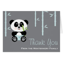 Blue Bamboo Panda in Diapers Baby Shower Thank You