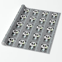 Blue Bamboo Panda in Diapers Wrapping Paper