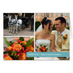 Blue band modern 3 photo montage thank you note stationery note card