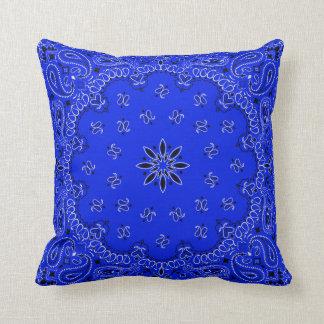 Blue Bandana 2 Throw Pillow