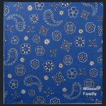 "Blue Bandana Napkins<br><div class=""desc"">Great to use at your kitchen table or on a picnic.  It has a blue,  black,  and white bandana pattern on it.  You customize the text on it.</div>"