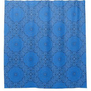 Blue Bandana Paisley Boho Hippie Glam Country Shower Curtain