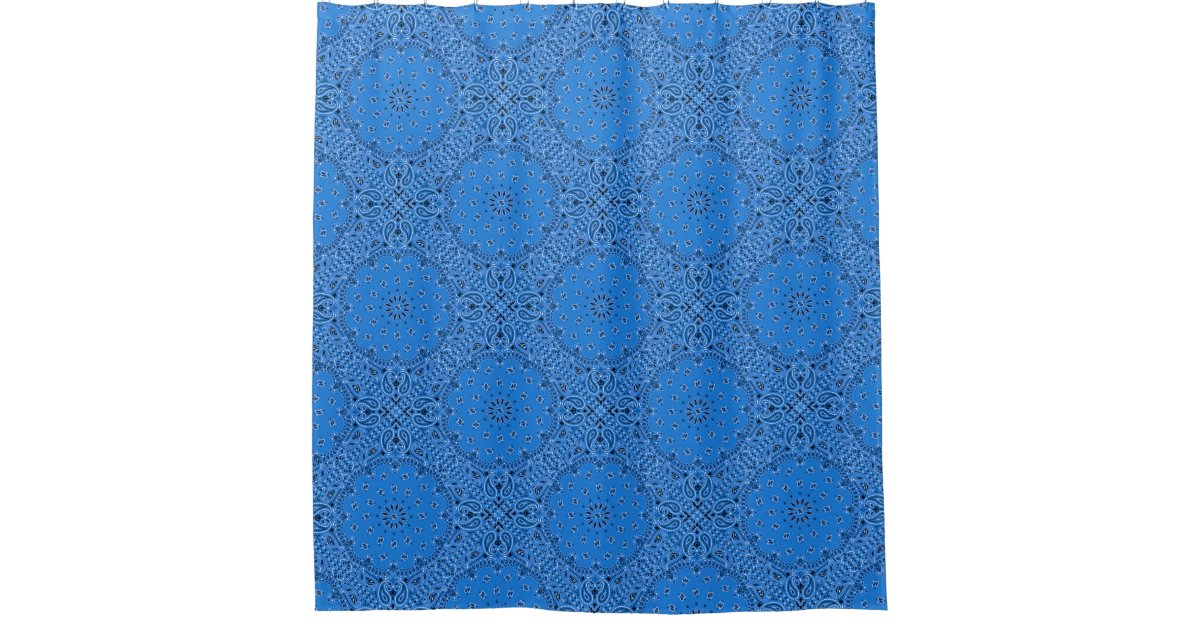 Blue Bandana Paisley Boho Hippie Glam Country Shower Curtain Zazzle