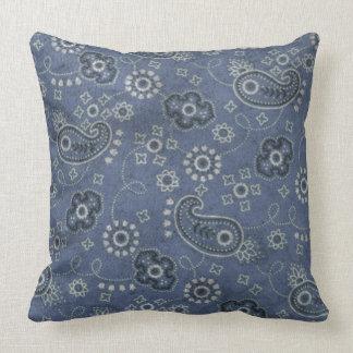 Blue Bandana Print Pillow