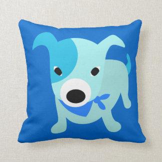 Blue Bandana Puppy Throw Pillow