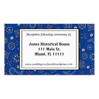 Blue Bandana Wedding Reception Cards