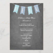 Blue Banner Menu for Baby Shower