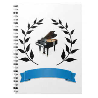 blue banner piano notebook