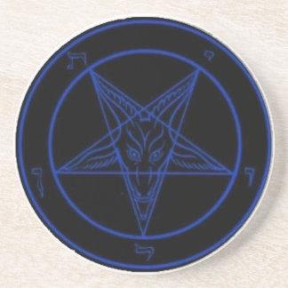 Blue Baphomet Drink Coaster or Ritual Alter Piece
