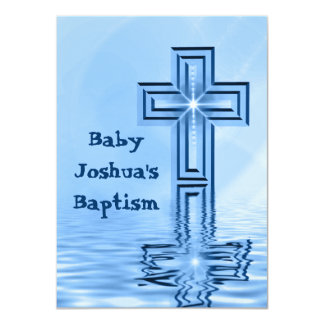 Blue Baptism Christening Invitations