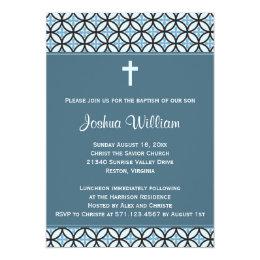 Blue Baptism/Christening Invite (no photo)