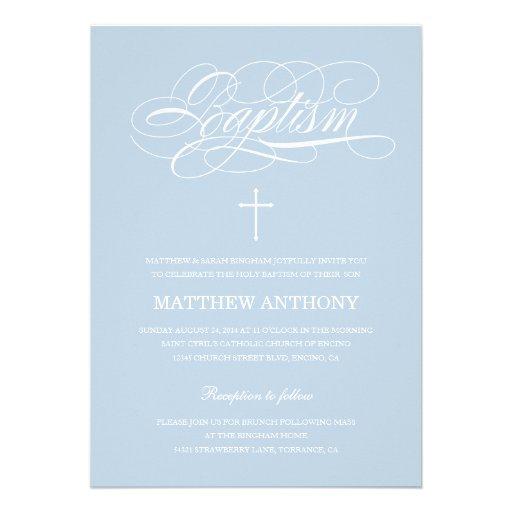 Blue Baptism Invitation | Christening Invitation