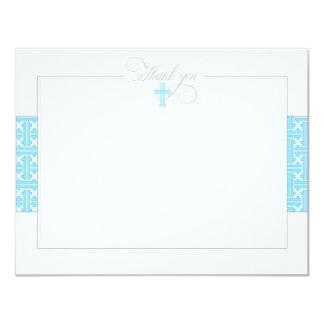 Blue Baptismal Flat Thank You Note Card