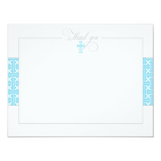 "Blue Baptismal Flat Thank You Note 4.25"" X 5.5"" Invitation Card"