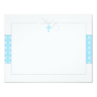 Blue Baptismal Flat Thank You Note Invitations