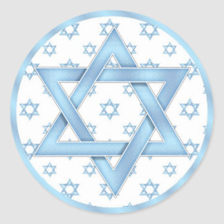 Blue Bar Mitzvah Cupcake Toppers Stickers