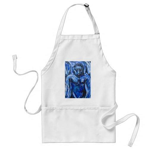 Blue Barbarous Woman(expressionism portrait) Aprons