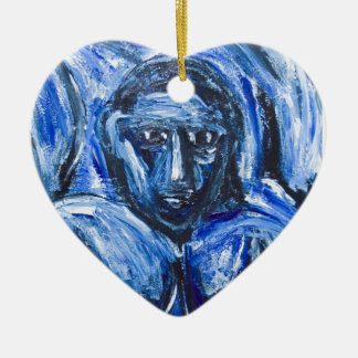 Blue Barbarous Woman(expressionism portrait) Christmas Ornaments