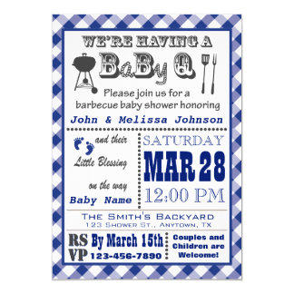 Blue Barbecue BaByQ Baby Shower Card
