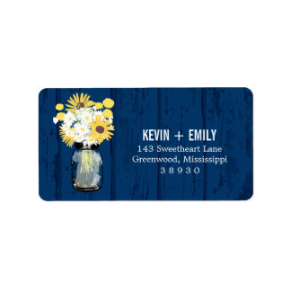 Blue Barn Mason Jar and Sunflowers | Address Label