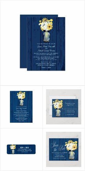 Blue Barn Mason Jar Wedding Invitations