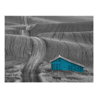 Blue Barn on a Country Road Photo Print