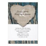 Blue Barn Wood Country Rustic Heart Wedding Card