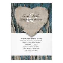 Blue Barn Wood Country Rustic Heart Wedding Card