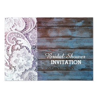 blue barn wood  lace western country bridal shower custom announcement