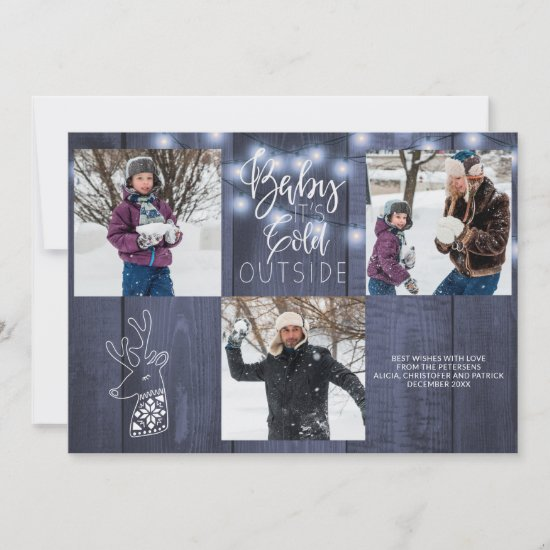 Blue barn wood rustic 3 photos Christmas lights Holiday Card