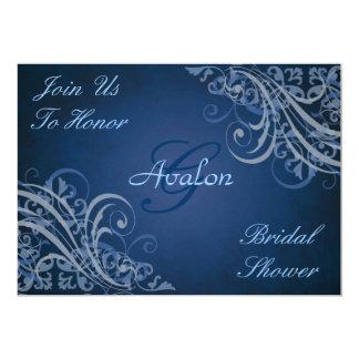 Blue Baroque Swirls Bridal Shower Blue Invitation