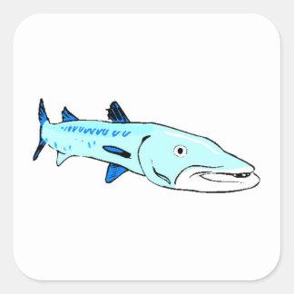 Blue Barracuda Square Stickers