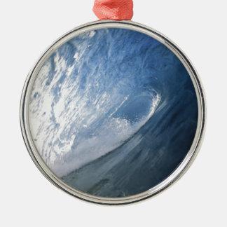 Blue barrel surfing wave interior view metal ornament